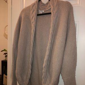 Fluffy Knit Braided Grey Cardigan Urban Outfitters